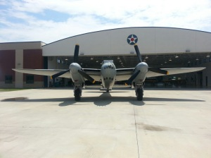 The Mosquito outside the Fighter Factory hangar.