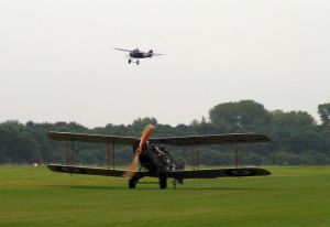 Bristol Pair: The F2b rolls out as the M1C follows in the background.