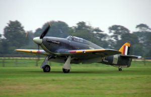 The Sea Hurricane rolling out after its display.