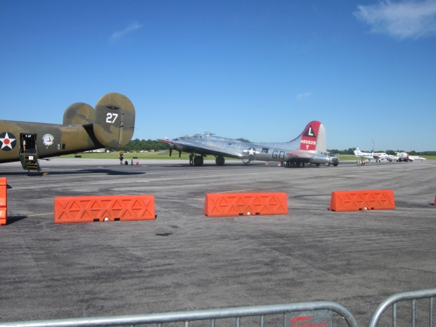 The B-17 parked alongside 'Lil before our flight.