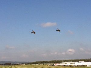 The Lancasters circling the racetrack at Goodwood.