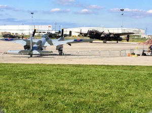 Mosquito KA114 with the Canadian Lancaster in behind.