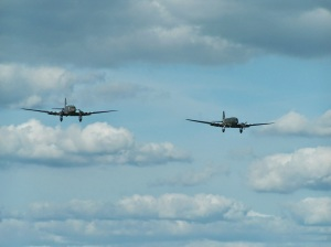 """Union Jack Dak"", left, and ""Drag 'em oot"", right, come in for a formation landing."