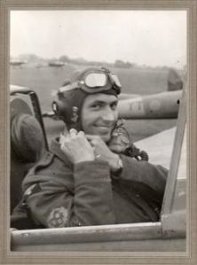 My Granddad, Jack Sherburn, strapping in to his Hornet.
