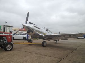TFC's P-40C on tow at Flying Legends 2014.