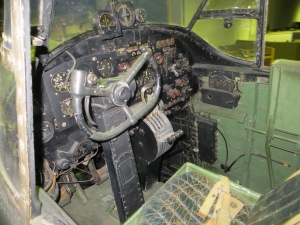 The cockpit of wartime veteran Lancaster S-Sugar at the Hendon open cockpits evening.