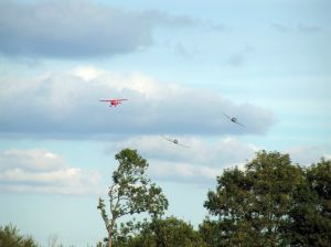 The air race unfolds over Old Warden.