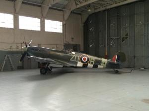 Spitfire MH434 in the hangar at Duxford.