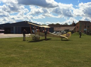 "The ""Biggles Bi-plane"" preparing to leave Headcorn on the 15th August 2014."