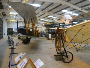 4 Years apart: The Bleriot (foreground) an aircraft which first flew the Channel in 1909 and a Be2, the first type to be deployed to France in 1914.