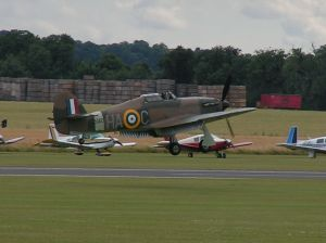 Historic Aircraft Company's Hurricane Landing at Duxford in 2010.