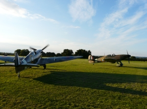 Guy Black's Spitfire and Hurricane at one of the Headcorn Flying Proms.