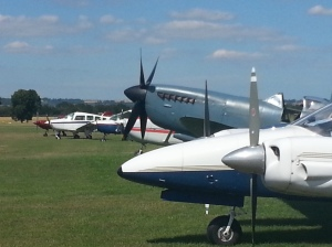 Odd one out: Peter Teichman's Spitfire Mk XI at Headcorn earlier this year.