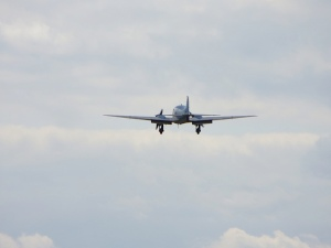 The Anson on approach shortly before its younger relatives arrived.