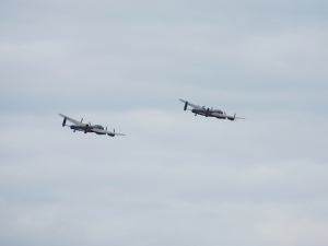 The Canadian Warplane Heritage and Battle Of Britain Memorial Flight Lacnasters together at Marham.