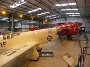 The Mew Gull and Comet in the Hangar at Old Warden.