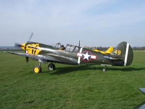Peter Teichman has been known to drop in with his aircraft over the years, here is his P-40 at headcorn some years ago.