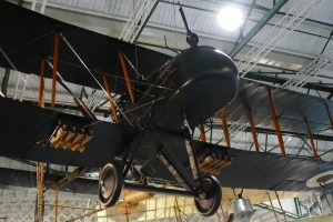 The very rare FE2b hanging from the ceiling in the new WW1 exhibition at Hendon.