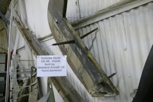 A DH9 rudder, one of a selection of Great War artefacts on display.