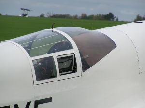 A Close look at the tight confines of the modified canopy of G-AEXF.