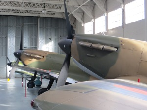 This shot of two early Mk 1 Spitfires at Duxford shows how the first production Spitfires would have looked. (With a 2 bladed prop of course!)