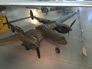 The National Air and Space Museum's P-38J on display at the Udvar-Hazy Center.