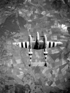 PR Lightning F-5 from above, seen here with D-DAY Stripes applied. US Air Force Image.