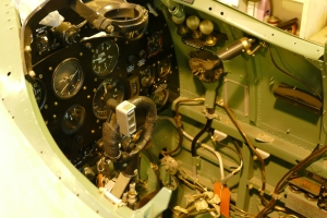 A look in the cockpit of the Spitfire.