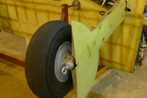 Undercarriage on one of the completed Spitfire wings.