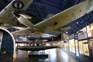 Mitchell's ultimate air race machine, the S.6b is seen here underneath a Mk 1 Spitfire at the Science Museum. Much of the techniques and technology developed in these races led to the Spitfire.