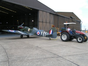 being towed out of the hangar at Duxford for engine runs in 2008.