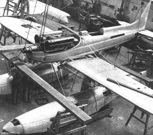 An S.6 under construction, with the Rolls Royce R engine clearly on view - Crown Copyright.