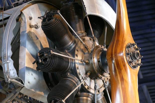 A close up of the Oberursel engine in a Fokker Eindecker
