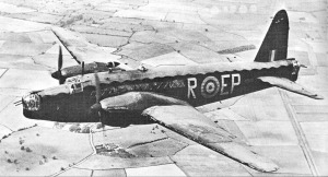 A Merlin Powered Wellington Mk II seen from the air. - Crown Copyright