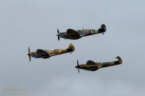 The unique sight of 3 Spitfires together over New Zealand.