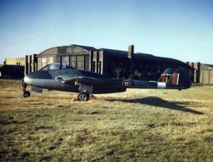The First RAF F1 Vampire at Boscombe Down in 1945.