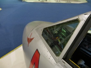 A look over the nose of the RAF Museum's single seat Vampire.