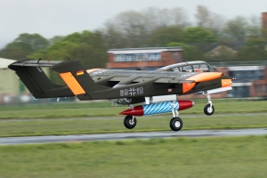 The Bronco getting airborne from a wet Abingdon runway.