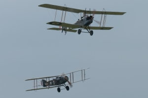The WW1 Aviation Heritage BE2 leads the Shuttleworth Collection's F2B.