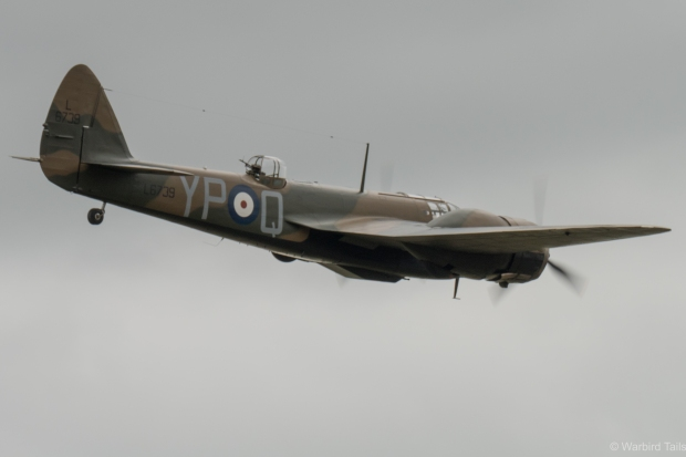 A very busy aeroplane of late! The Blenheim returns from yet another airshow appearance.