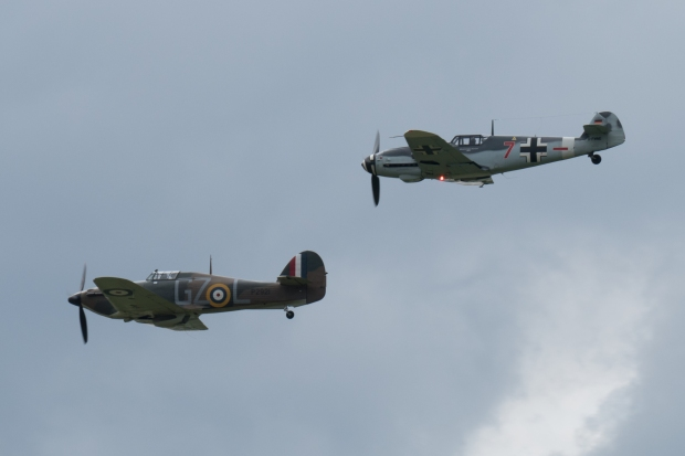The Hurricane and 109 led the final formation pass of the Battle Of Britain segment.