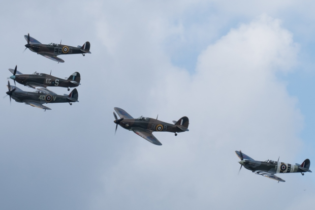 The BBMF fighters on their opening pass.