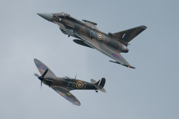 Together at last: Battle Of Britain veteran Spitfire Mk II P7350 joins the special scheme Typhoon for the Synchro pair.