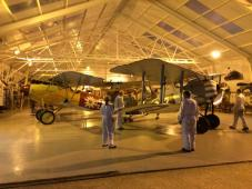Two stars of the show are put back to bed in the hangar after a busy evening.