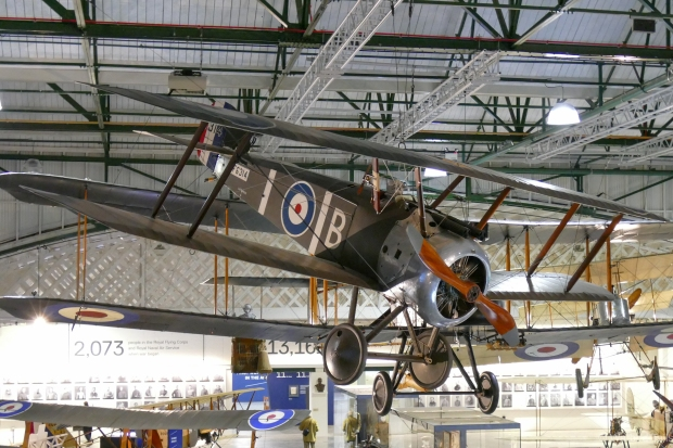 The Hendon example hanging from the roof of the new WW1 exhibition.