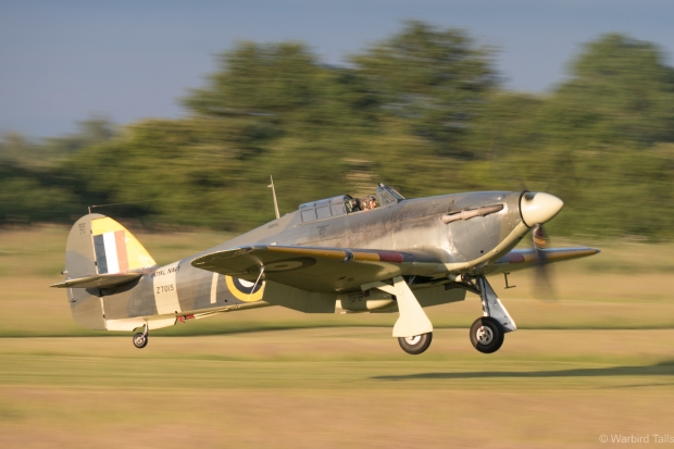 The Sea Hurricane coming in to land.