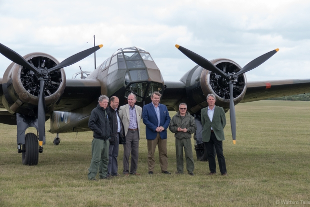 The Blenheim flight crew were joined by a number of distinguished guests, as well as the event organisers for a brief photo call in front of the aircraft.