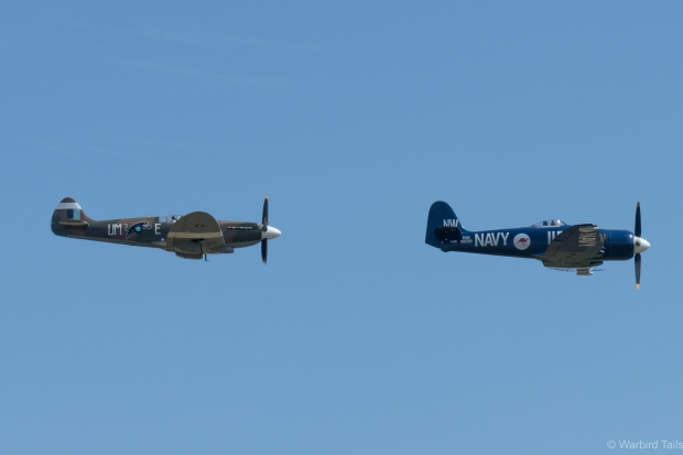 Friday is great for unique arrival formations, such as this pair of Spitfire and Sea Fury.