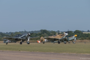 The three Buchons waiting to get airborne for a spectacular formation display.