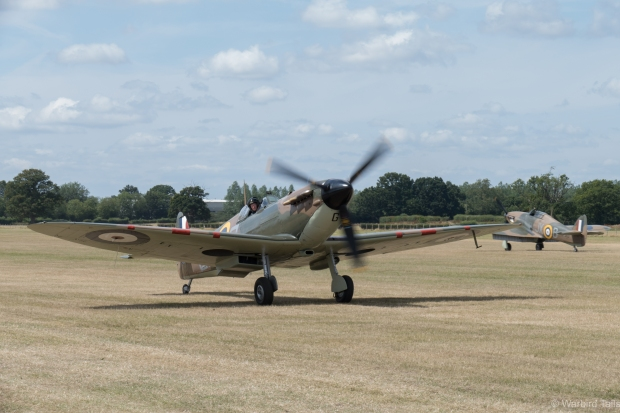 This could be a scene straight out of 1940, Spitfire P7350 taxies in while Hurricane LF363 rolls out behind.
